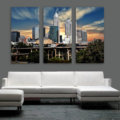 Charlotte Sunny Skyline Wall Art Multi Panel Canvas Wall Art