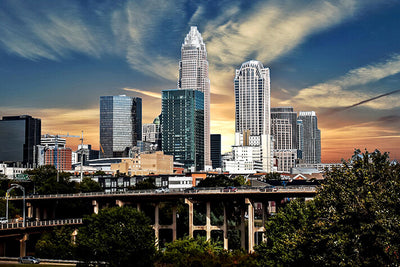 Charlotte Sunny Skyline Wall Art High Quality Print Wall Art