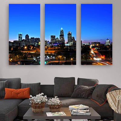 Downtown Charlotte Skyline Wall Art Multi Panel Canvas Wall Art