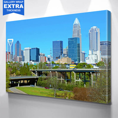 Downtown Charlotte North Carolina Panormaic Wall Art Canvas Art