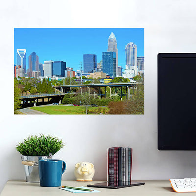 Downtown Charlotte North Carolina Panormaic Wall Art Wall Decal Wall Art