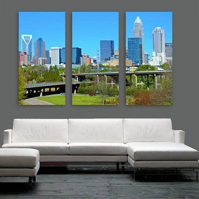 Downtown Charlotte North Carolina Panormaic Wall Art Multi Panel Canvas Wall Art