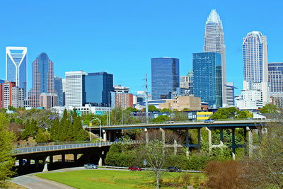 Downtown Charlotte North Carolina Panormaic Wall Art High Quality Print Wall Art