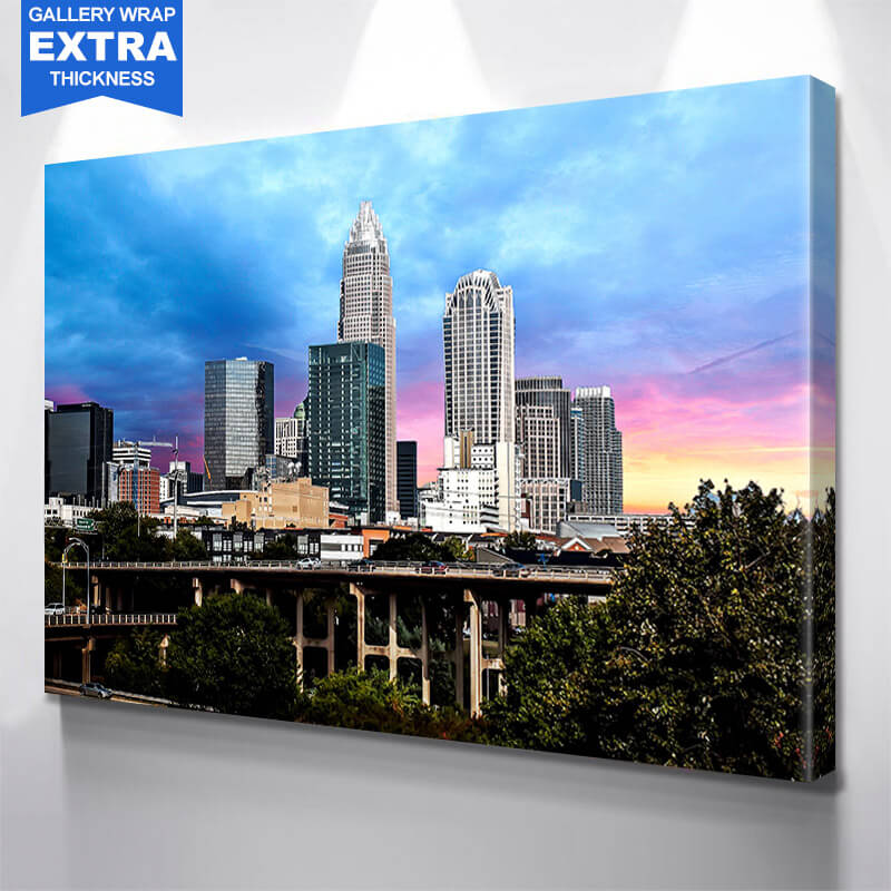 Colorful Charlotte Skyline Wall Art Canvas Art