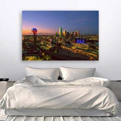 Dallas Aerial Dusk Skyline Canvas Wall Art Canvas Art