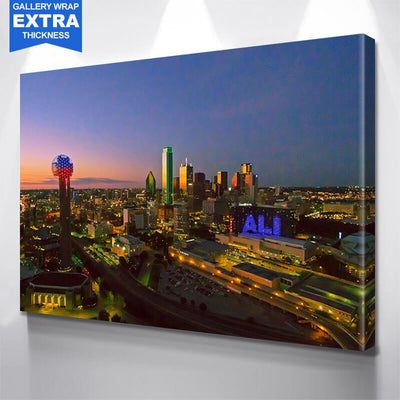 Dallas Aerial Dusk Skyline Canvas Wall Art Multi Panel Canvas Wall Art