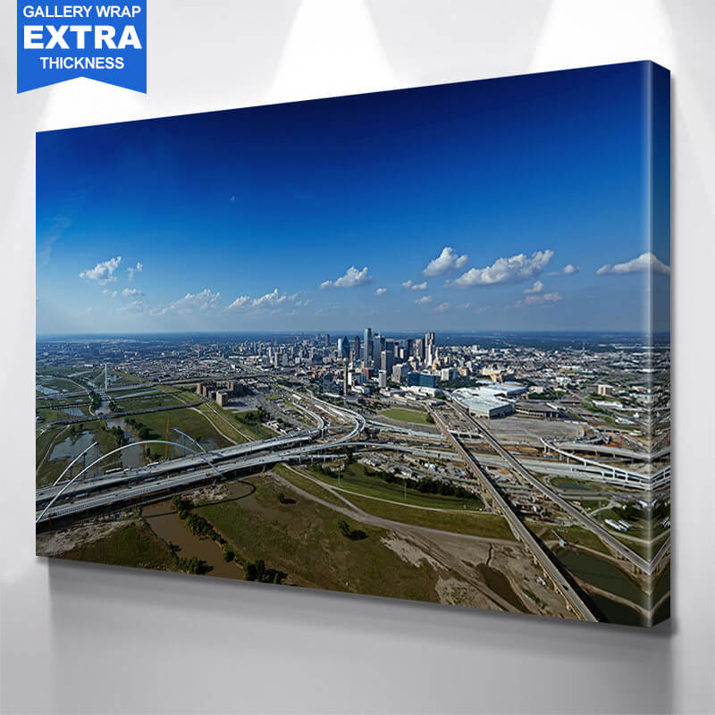 Dallas Skyline From Above Wall Art Canvas Art