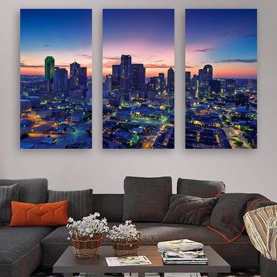 Dallas Amazing Dusk Skyline Canvas Wall Art Multi Panel Canvas Wall Art