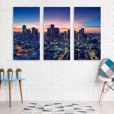 Dallas Amazing Dusk Skyline Canvas Wall Art Canvas Art