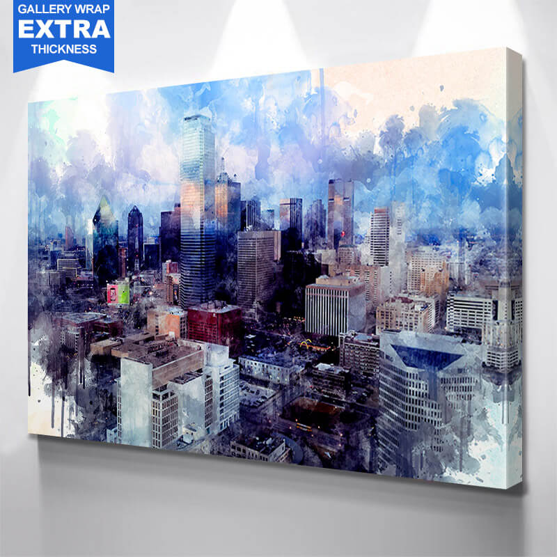 Watercolor Downtown Dallas Wall Art Canvas Art