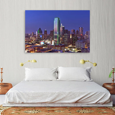 Dallas Aerial at Night Wall Art Canvas Art