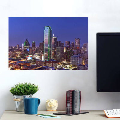 Dallas Aerial at Night Wall Art Wall Decal Wall Art