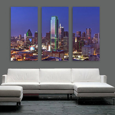 Dallas Aerial at Night Wall Art Multi Panel Canvas Wall Art