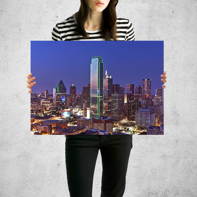 Dallas Aerial at Night Wall Art High Quality Print Wall Art
