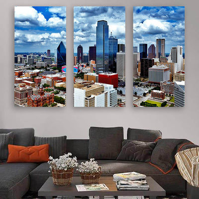 Dallas Cloudy Downtown Amazing Photography Wall Art Multi Panel Canvas Wall Art