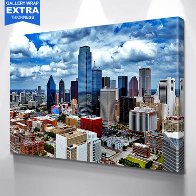 Dallas Cloudy Downtown Amazing Photography Wall Art Canvas Art