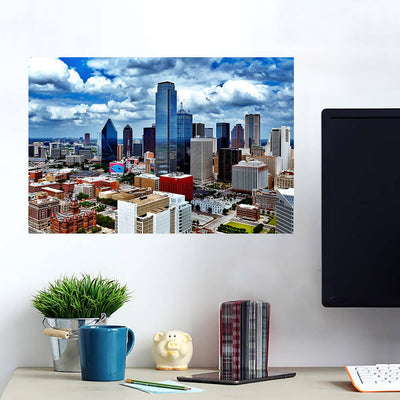 Dallas Cloudy Downtown Amazing Photography Wall Art Wall Decal Wall Art