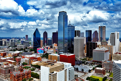 Dallas Cloudy Downtown Amazing Photography Wall Art High Quality Print Wall Art