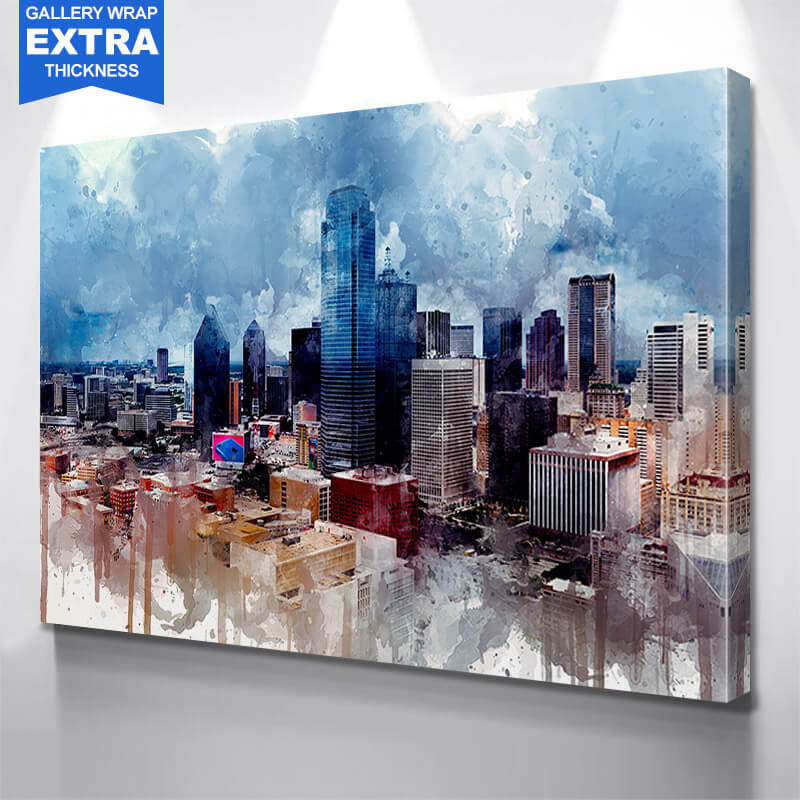 Dallas Watercolor Downtown Wall Art Canvas Art