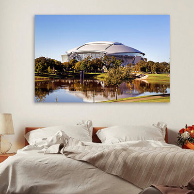 AT&T Stadium Dallas Lake Reflection Canvas Wall Art Canvas Art