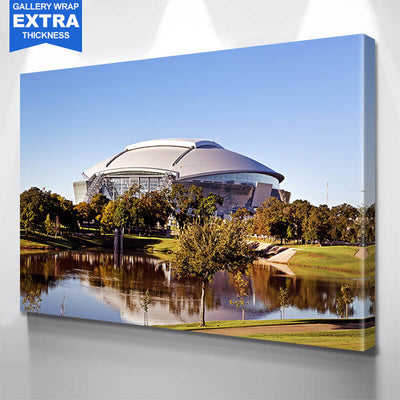 AT&T Stadium Dallas Lake Reflection Canvas Wall Art Multi Panel Canvas Wall Art