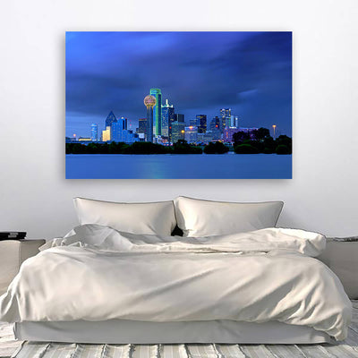 I Dallas ncredible Blue Skyline Wall Art Canvas Art