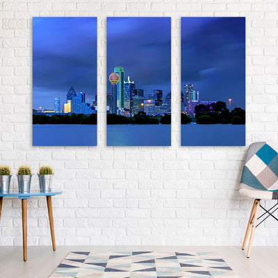 I Dallas ncredible Blue Skyline Wall Art Multi Panel Canvas Wall Art