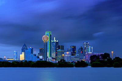 I Dallas ncredible Blue Skyline Wall Art High Quality Print Wall Art
