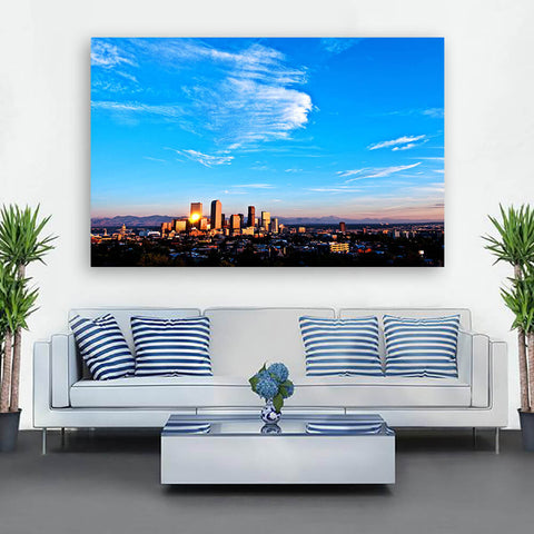 Denver Amazing Aerial Skyline Wall Art Canvas Art
