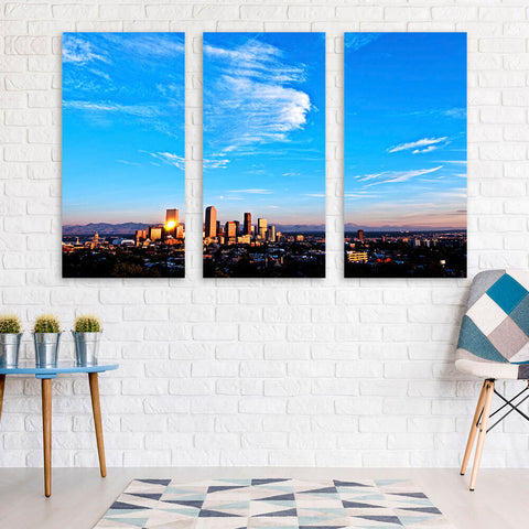 Denver Amazing Aerial Skyline Wall Art Multi Panel Canvas Wall Art