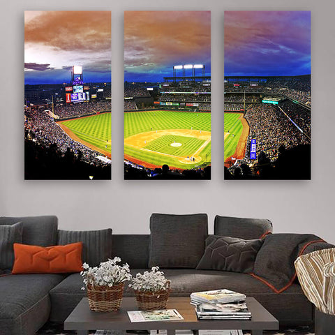 Amazing Coors Field Denver Colorado Night Game Wall Art Multi Panel Canvas Wall Art