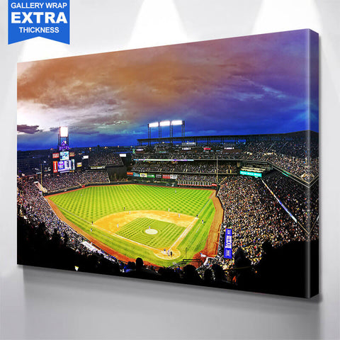 Amazing Coors Field Denver Colorado Night Game Wall Art Canvas Art