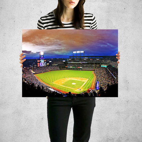Amazing Coors Field Denver Colorado Night Game Wall Art High Quality Print Wall Art