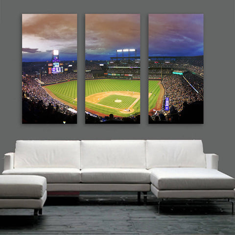 Coors Field Denver Colorado Night Game Wall Art Multi Panel Canvas Wall Art