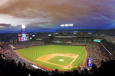 Coors Field Denver Colorado Night Game Wall Art High Quality Print Wall Art