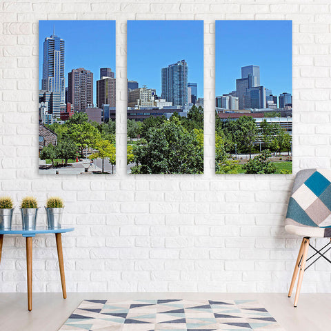 Downtown Denver Skyline Wall Art Multi Panel Canvas Wall Art