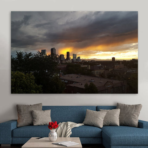 Rainy Clouds Downtown Denver Wall Art Canvas Art