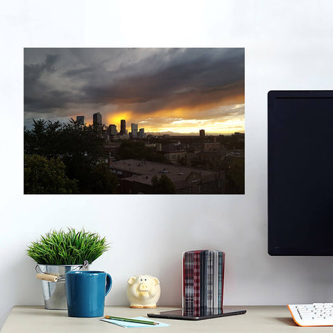 Rainy Clouds Downtown Denver Wall Art Wall Decal Wall Art