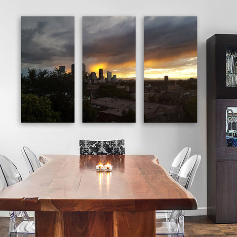 Rainy Clouds Downtown Denver Wall Art Multi Panel Canvas Wall Art