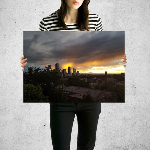 Rainy Clouds Downtown Denver Wall Art High Quality Print Wall Art