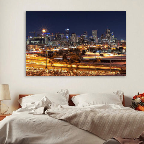 Denver Skyline Night  Wall Art Canvas Art