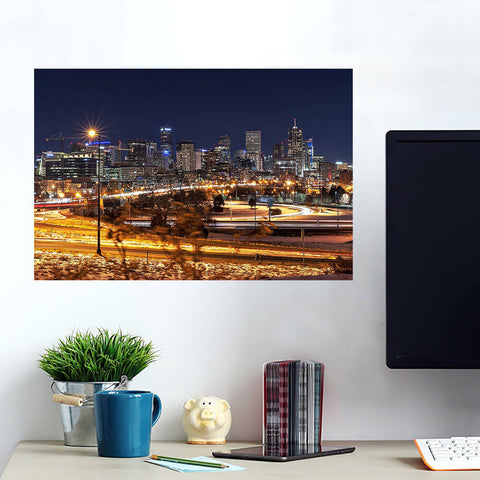 Denver Skyline Night  Wall Art Wall Decal Wall Art