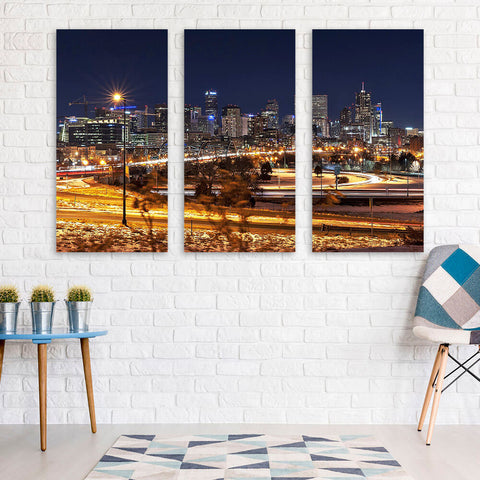 Denver Skyline Night  Wall Art Multi Panel Canvas Wall Art