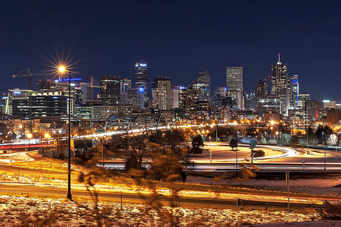 Denver Skyline Night  Wall Art High Quality Print Wall Art