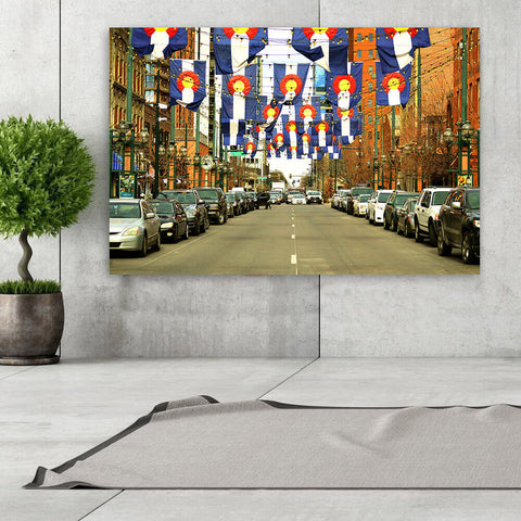 Denver Colorado Flags Downtown Wall Art Canvas Art