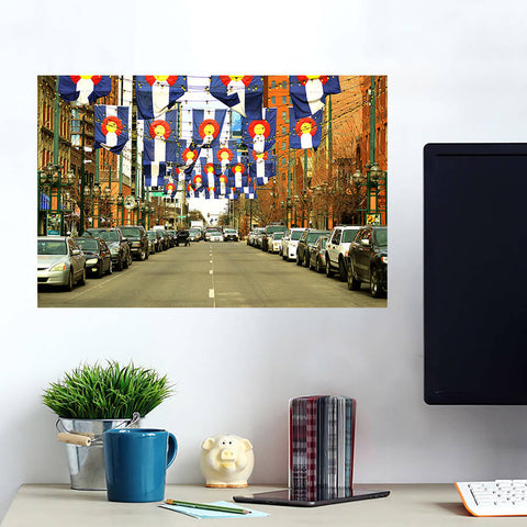 Denver Colorado Flags Downtown Wall Art Wall Decal Wall Art