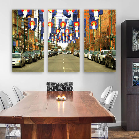 Denver Colorado Flags Downtown Wall Art Multi Panel Canvas Wall Art