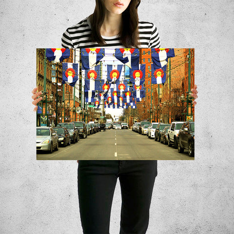Denver Colorado Flags Downtown Wall Art High Quality Print Wall Art