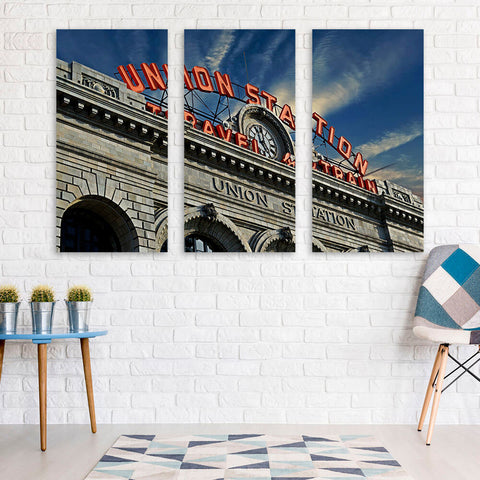 Denver Sunny Union Station Colorado Wall Art Multi Panel Canvas Wall Art
