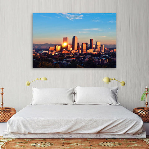 Denver Mountain Skyline Wall Art Canvas Art